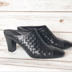 Sesto Meucci Black Leather Heeled Mules